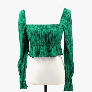Wild Honey Cropped Long Sleeve Peasant Boho Top Blouse Square Neck Green Small
